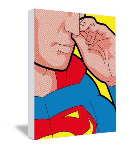 Superman Picking  Canvas Framed Wall Art